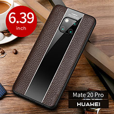 Funda Lujo Cuero Carcasa S01 para Huawei Mate 20 Pro Marron