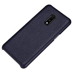 Funda Lujo Cuero Carcasa S01 para OnePlus 7 Azul