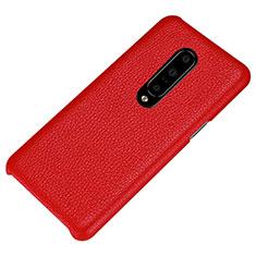 Funda Lujo Cuero Carcasa S01 para OnePlus 7 Pro Rojo