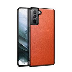 Funda Lujo Cuero Carcasa S01 para Samsung Galaxy S21 5G Naranja