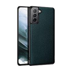 Funda Lujo Cuero Carcasa S01 para Samsung Galaxy S21 5G Verde Noche