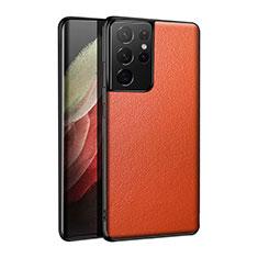 Funda Lujo Cuero Carcasa S01 para Samsung Galaxy S21 Ultra 5G Naranja