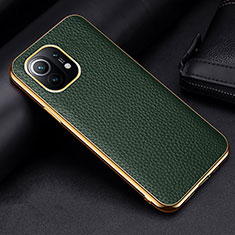 Funda Lujo Cuero Carcasa S01 para Xiaomi Mi 11 5G Verde
