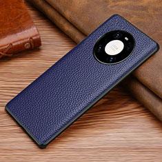 Funda Lujo Cuero Carcasa S02 para Huawei Mate 40 Azul