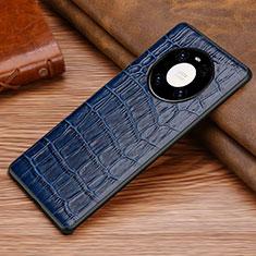 Funda Lujo Cuero Carcasa S02 para Huawei Mate 40 Pro Azul