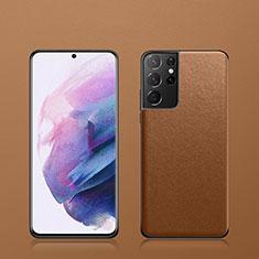 Funda Lujo Cuero Carcasa S02 para Samsung Galaxy S21 Ultra 5G Marron