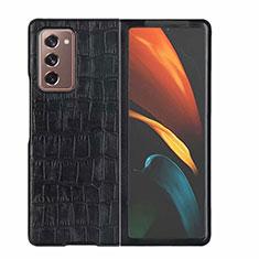 Funda Lujo Cuero Carcasa S02 para Samsung Galaxy Z Fold2 5G Negro