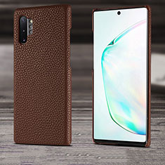 Funda Lujo Cuero Carcasa S03 para Samsung Galaxy Note 10 Plus 5G Marron