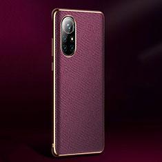 Funda Lujo Cuero Carcasa S05 para Huawei Nova 8 Pro 5G Morado