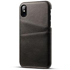 Funda Lujo Cuero Carcasa S06 para Apple iPhone Xs Max Negro
