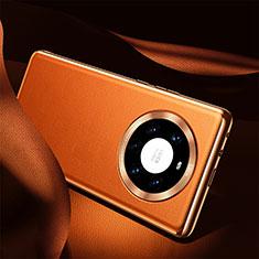 Funda Lujo Cuero Carcasa S08 para Huawei Mate 40 Pro+ Plus Naranja