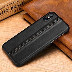 Funda Lujo Cuero Carcasa S11 para Apple iPhone Xs Max Negro