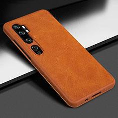 Funda Lujo Cuero Carcasa Z01 para Xiaomi Mi Note 10 Pro Naranja