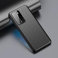 Funda Lujo Fibra de Carbon Carcasa Twill C01 para Huawei P40 Pro Negro