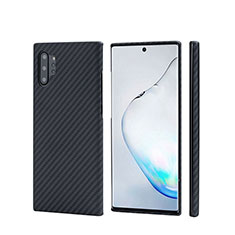 Funda Lujo Fibra de Carbon Carcasa Twill C01 para Samsung Galaxy Note 10 Plus 5G Negro