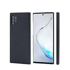 Funda Lujo Fibra de Carbon Carcasa Twill C01 para Samsung Galaxy Note 10 Plus Negro