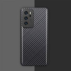 Funda Lujo Fibra de Carbon Carcasa Twill para Huawei P40 Negro
