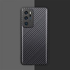Funda Lujo Fibra de Carbon Carcasa Twill para Huawei P40 Pro Negro