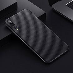 Funda Lujo Fibra de Carbon Carcasa Twill T02 para Huawei P20 Pro Negro