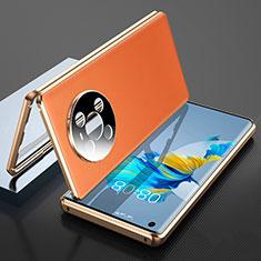 Funda Lujo Marco de Aluminio Carcasa 360 Grados K01 para Huawei Mate 40 Naranja