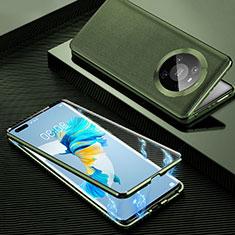 Funda Lujo Marco de Aluminio Carcasa 360 Grados K01 para Huawei Mate 40 Pro Naranja