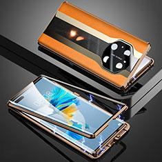 Funda Lujo Marco de Aluminio Carcasa 360 Grados K03 para Huawei Mate 40 Pro Naranja