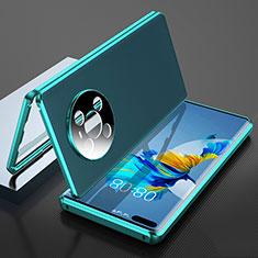 Funda Lujo Marco de Aluminio Carcasa 360 Grados K04 para Huawei Mate 40 Pro Cian