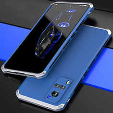 Funda Lujo Marco de Aluminio Carcasa 360 Grados para Vivo X60 5G Plata y Azul