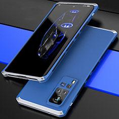 Funda Lujo Marco de Aluminio Carcasa 360 Grados para Vivo X60 Pro 5G Plata y Azul