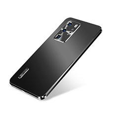 Funda Lujo Marco de Aluminio Carcasa A01 para Huawei P40 Pro Negro