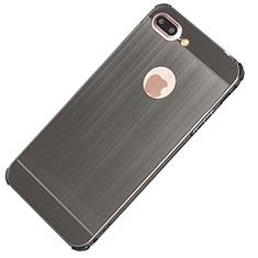 Funda Lujo Marco de Aluminio Carcasa M01 para Apple iPhone 8 Plus Gris Oscuro