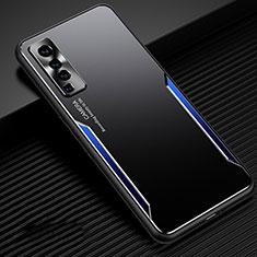 Funda Lujo Marco de Aluminio Carcasa M02 para Vivo X50 5G Azul y Negro