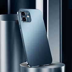 Funda Lujo Marco de Aluminio Carcasa N01 para Apple iPhone 12 Azul