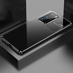 Funda Lujo Marco de Aluminio Carcasa N01 para Huawei P40 Negro