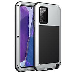 Funda Lujo Marco de Aluminio Carcasa N01 para Samsung Galaxy Note 20 5G Plata