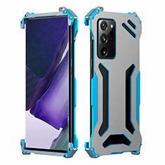 Funda Lujo Marco de Aluminio Carcasa N02 para Samsung Galaxy Note 20 Ultra 5G Azul Cielo