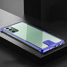 Funda Lujo Marco de Aluminio Carcasa N03 para Samsung Galaxy Note 20 5G Azul