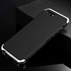 Funda Lujo Marco de Aluminio Carcasa para Apple iPhone 8 Plus Plata y Negro