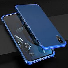 Funda Lujo Marco de Aluminio Carcasa para Apple iPhone Xs Max Azul