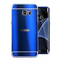 Funda Lujo Marco de Aluminio Carcasa para Samsung Galaxy S7 Edge G935F Azul