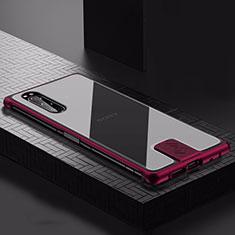 Funda Lujo Marco de Aluminio Carcasa para Sony Xperia 5 Rojo Rosa