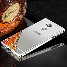 Funda Lujo Marco de Aluminio Carcasa para Sony Xperia XA2 Plata
