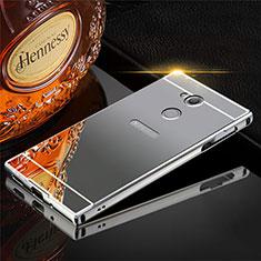 Funda Lujo Marco de Aluminio Carcasa para Sony Xperia XA2 Plus Gris