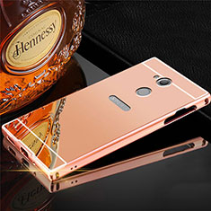 Funda Lujo Marco de Aluminio Carcasa para Sony Xperia XA2 Plus Oro Rosa