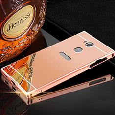 Funda Lujo Marco de Aluminio Carcasa para Sony Xperia XA2 Ultra Oro Rosa