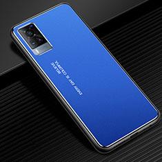 Funda Lujo Marco de Aluminio Carcasa para Vivo X60 5G Azul