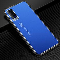 Funda Lujo Marco de Aluminio Carcasa para Vivo X60 Pro 5G Azul