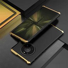 Funda Lujo Marco de Aluminio Carcasa T01 para Huawei Mate 40 Pro Oro y Negro