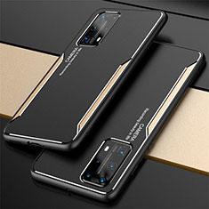 Funda Lujo Marco de Aluminio Carcasa T01 para Huawei P40 Pro+ Plus Oro