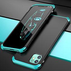 Funda Lujo Marco de Aluminio Carcasa T02 para Apple iPhone 11 Cian